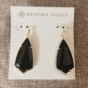 Kendra Scott Carla Gold Drop Earrings in Black